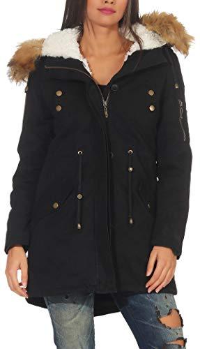 Cappotto Malito Donna Nero Foderato Trenchcoat invernale 81099 Cappuccio Parka xPq64w