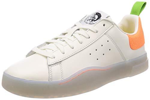 Diesel Men's S-Clever Low-Sneakers, Star White/Orange Fluo, 8 M US