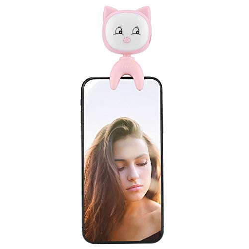 Price comparison product image Selfie Ring Light for Camera and Phone,  LED Cartoon Cat Fill-Light Clips with 3 Adjustable Brightness, 18 Bulbs,  360° Rotation, Portable Fill Light for Makeup