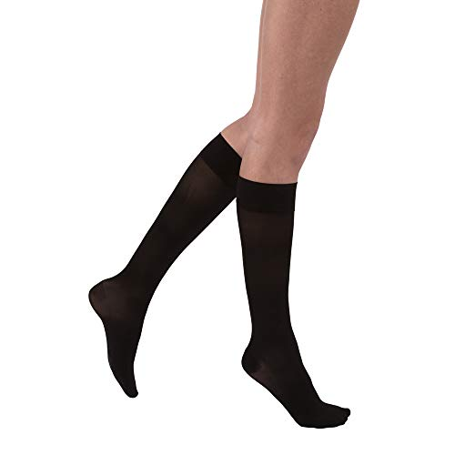 JOBST UltraSheer Knee High 15-20 mmHg Compression Stockings, Closed Toe, Medium, Classic Black ()