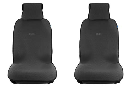 (Sojoy Summer Cooling Four Seasons Car Seat Cushions for Front Two Seats Comes with 2 Pieces - Honeycomb Cloth (Carbon Black))