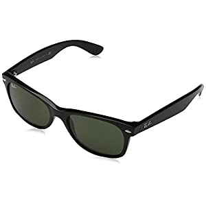 Ray-Ban RB2132 - New Wayfarer Non-Polarized Sunglasses Black Frame Crystal Green Lens Size 55