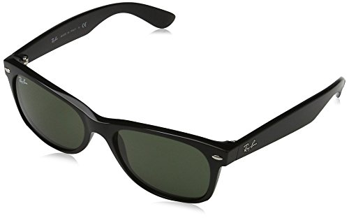 Ray-Ban RB2132 New Wayfarer Non Polarized Sunglasses, Matte Black, Green 51 - Wayfarer Ban Ray New 55mm