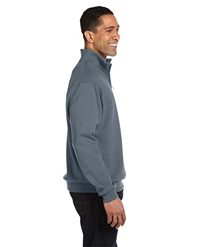 Jerzees Cotton Pullover - Jerzees mens 8 oz. 50/50 NuBlend Quarter-Zip Cadet Collar Sweatshirt(995M)-CHARCOAL GREY-L