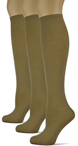 (Silky Smooth Knee High Trouser Socks by Sox Trot | Thin Material | Made in USA (Taupe) 3 Pack)