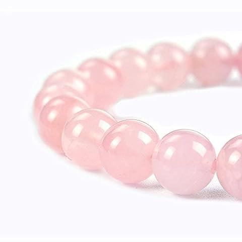 Gemstone Beads Round Loose Beads,Chengmu Rose Quartz Beads,Natural Smooth Stone Beads for Bracelet Necklace Jewelry - Rose Quartz Rope