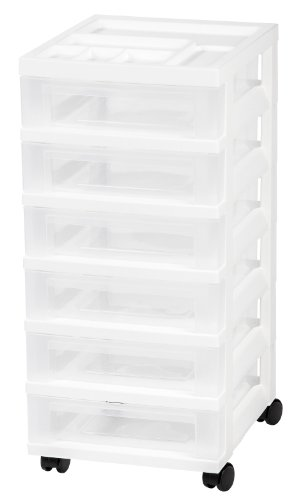 IRIS 6-Drawer Rolling Storage Cart with Organizer Top, White - 5 Drawer Storage