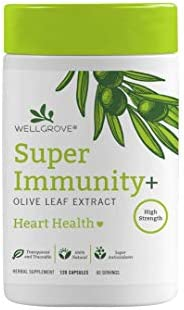 WellGrove Super Immunity Olive Leaf Extract Capsules Better Immune Support Than Vitamin C or Elderberry for Cold or Flu High in Antioxidants Supplement 120 Capsules