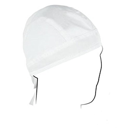 Zan Headgear Road Hog Solid White with Sweatband Cotton Headwrap