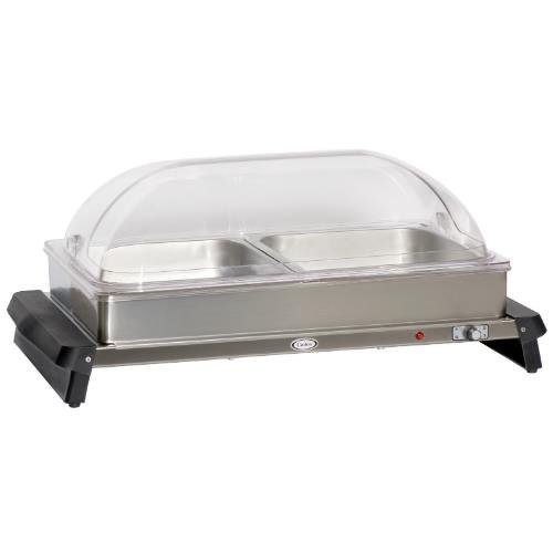 Cadco S/S Double Buffet Server w/ Roll Top Lid, WTBS-2RT (Double Steel Stainless Server Buffet)