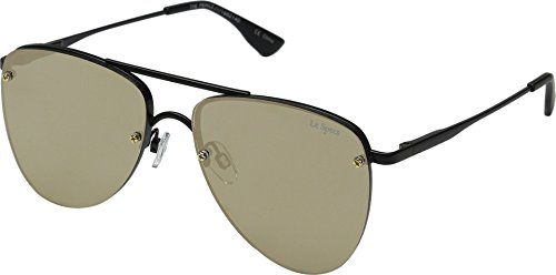 Le Specs Women's The Prince Mirrored Sunglasses, Matte Black/Gold Revo, One - Mirrored Le Specs Sunglasses