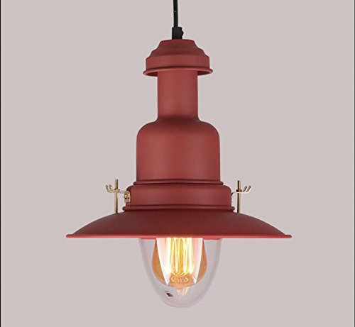 1pcs Colorful lights pendant light residential lighting retro lantern fisherman bedroom bedside dining hall aisle cafe color pendant lamps WL6021457PY (Size : Red (Fisherman Ceiling Pendant)