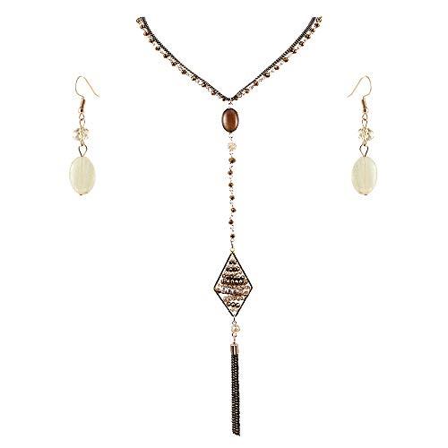 Lavencious Multi Strands Statement Necklace & Earrings Set Long Rhombus Pendant Women (Topaz)