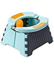 Portable Potty Seat, Reiled Toddler Potty Training Seat, Kids Travel Potty, Foldable Toilet Seat for Indoor and Outdoor Car Camping w/Disposable Bags