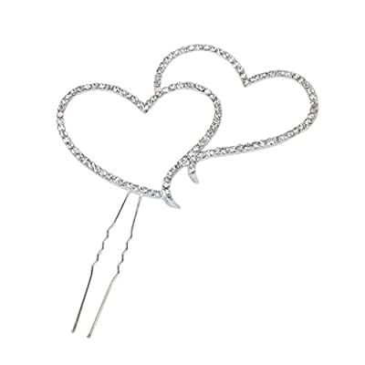 1 X Double Heart w/Rhinestone Cake Topper for Wedding, Engagement, Birthday, Party or Aniversary