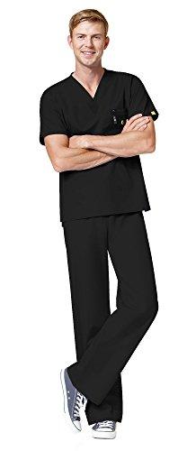 WonderWink Origins Unisex Medical Uniforms Scrubs Set Bundle- 6006 Alpha V-Neck Scrub Top & 5006 Papa Drawstring Scrub Pants & MS Badge Reel (Black - Medium/Medium Petite)