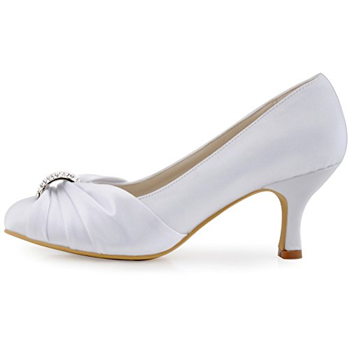 Hc1526 Punta Strass Partito Sera Sposa Elegantpark Pompe Tacco Bianco Ballo Raso Chiusa Volant Medio Donna BqnndYT
