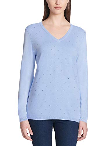 (DKNY Jeans Ladies' Rhinestone Embellished Sweater (Blue, M))