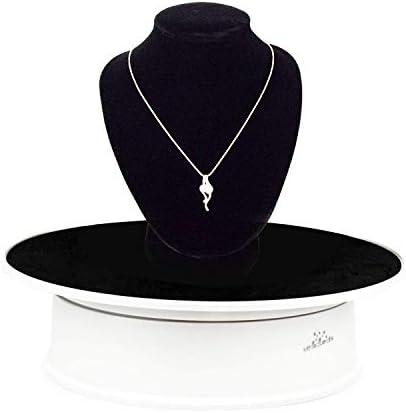 """Leadleds Présentoir rotatif motorisé avec surface en velours Ideal pour les bijoux - Noir - 20 cm, multicolore, Dia.:8 """"(20cm Top stand) * 2.24"""" H"""