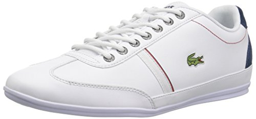 Lacoste Men's Misano Sport Sneakers,White/Nvy Leather,10.5 M US (White Sneakers Lacoste)