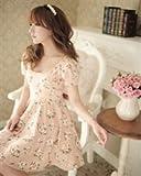 Charming Chiffon Floral Print U Neck Women Dresses