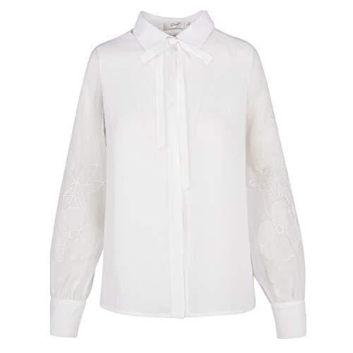 Dcoration Femme Blanc pour Printemps Mode pour L'automne Et T Manches Chemisier Longues V t Bow CJJC Shirt Simple Broderie pour Neck Femmes Filles De Usure x17XwyyqYS