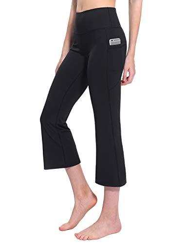 TaiBid Women's High Waist Yoga Capri Pants Side Pockets Flare Workout Bootleg Crop Leggings, Black - M