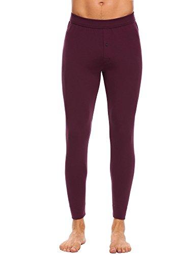Langle Men's Long Sleepwear Soft Cotton Elastic Waist Pajamas Set (Dark Red, XXL) by Langle (Image #1)