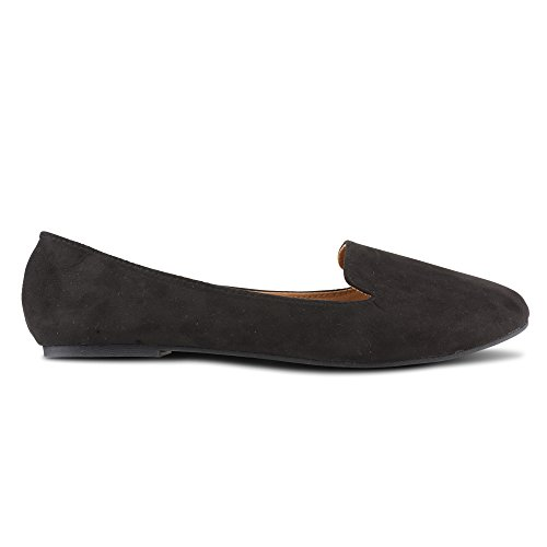 Twisted Womens Faux Suede Smoking Slipper Flats - SARA125 Black, Size 7 by Twisted (Image #4)