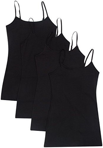 - 4 Pack Active Basic Women's Basic Tank Tops, Black/Black/Black/Black, M.