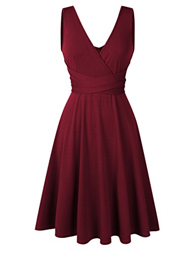 Women Plus Size Sleeveless V Neck Empire Ruched Waist Fit Summer Sun Cocktail Party Dress Wine Red