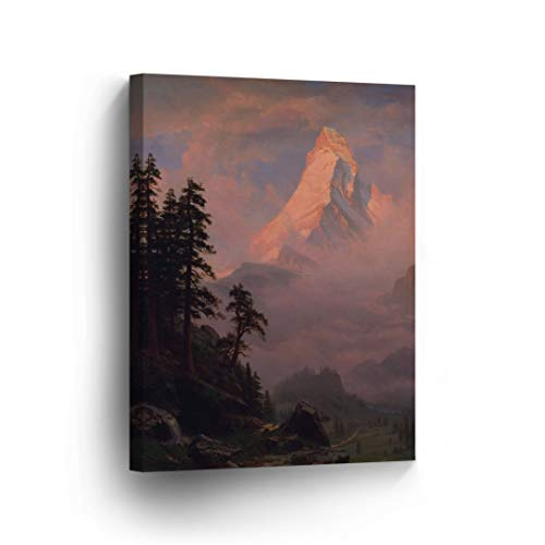 Sunrise on The Matterhorn, Albert Bierstadt Classic Art Canvas Print Famous Fine Art Oil Painting Reproduction Canvas Wall Art Home Decor Stretched Ready to Hang-%100 Made in The USA- 17x11 ()