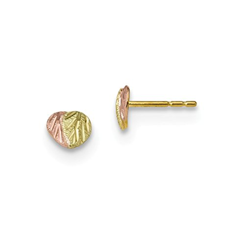 ICE CARATS 10kt Tri Color Black Hills Gold Post Stud Ball Button Earrings Love Fine Jewelry Ideal Gifts For Women Gift Set From Heart