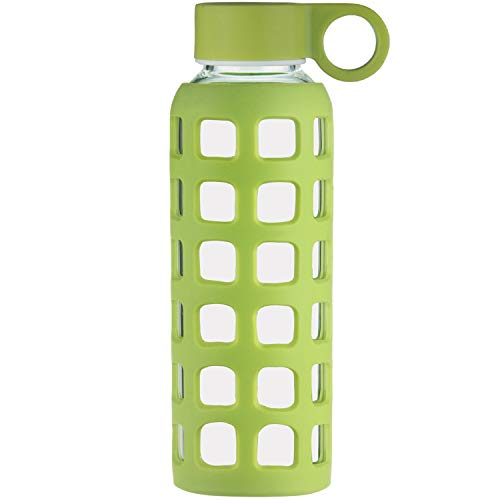 Lined Green Glass - ORIGIN Best BPA-Free Borosilicate Glass Water Bottle with Protective Silicone Sleeve and Leak Proof Lid - Dishwasher Safe (Lime Green, 12 oz)