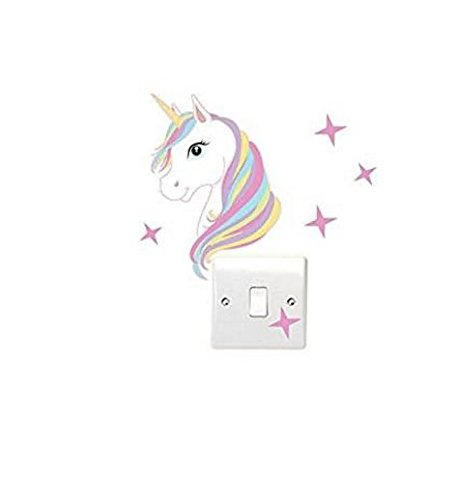 Bravehope Unicorn and Star Light Switch Wall Sticker Children's Bedroom Switch Posts *1pcs