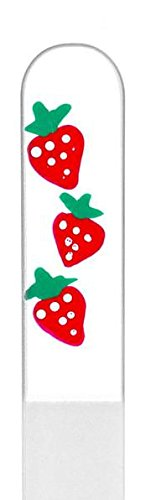 Painted Strawberry - Strawberry Hand Painted Genuine Czech Republic Crystal Nail File - Medium