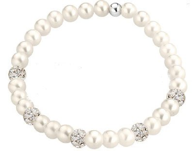 Bracelet élastique avec perles naturelles 5 mm Motif en or 18 carats et zirconate 5 boules