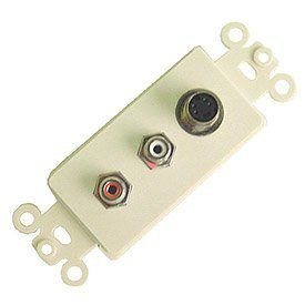 Calrad Electronics 28-150 4 Pin Nickel Plated Mini DIN Feed Thru Jack Plus RCA Jacks - White (Feed Thru Insert)