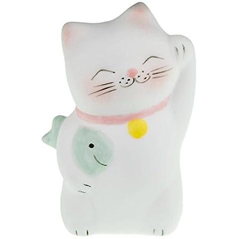 Lucky Cat Neko Fortune Handmade Painted Ceramic Japanese Chinese by Tada-Tada (1 Pcs, Green Color) (Mario Bedroom Decor Furniture)