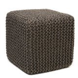 Anji Mountain AMB0002-1818 Square Jute Pouf, Gray, 18 x 18-Inch