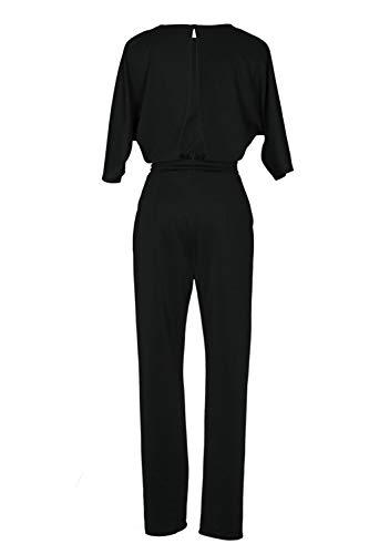 Noir Nu Epaules Femmes Kelice Combinaisons avec Longues Combi Ceinture Dos Pantalons Cpp6Uqwv