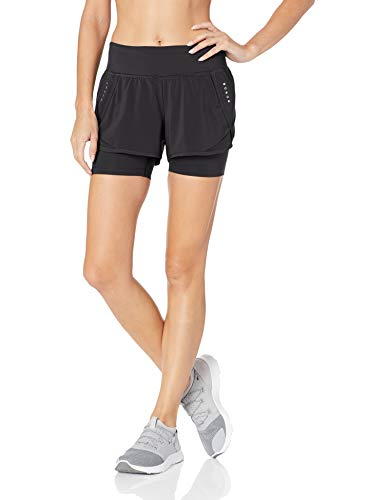 Amazon Brand - Core 10 Women's (XS-3X) Knit Waistband '2-in-1' Run Short with Built-in Compression Short, black, Medium