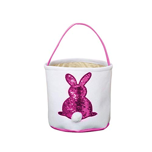 - HHmei Easter Egg Basket Holiday Rabbit Bunny Printed Canvas Gift Carry Eggs Candy Bag Fish Scale Bunny Bag (Hot Pink)