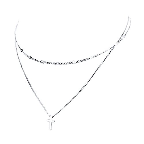 Sterling Silver Double Cross - Furious Jewelry 925 Sterling Silver Cross Pendant Double Layered Chain Necklace for Lady Women