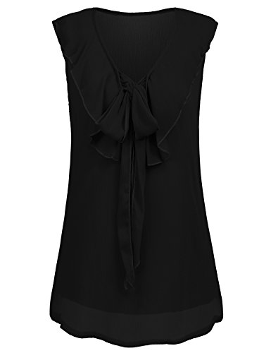 (Hersife Women Chiffon Black Sleeveless Top Casual Camisole V Neck Ruffled)