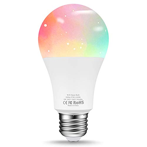 Vorally Smart WiFi LED Bulb,E26 Dimmable Multi-Color Home Night Lamp 60W Equivalent(9W), No Hub Required, Compatible with Alexa and Google Assistant
