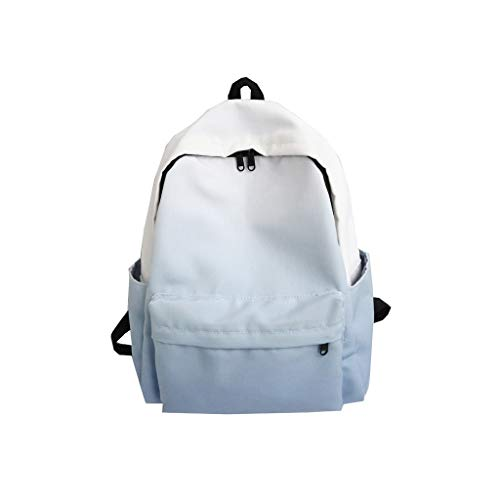 Ladies Discoloration Canvas Backpack, Fashion Large Capacity Travel Bag Laptop Backpack Student Bag Blue