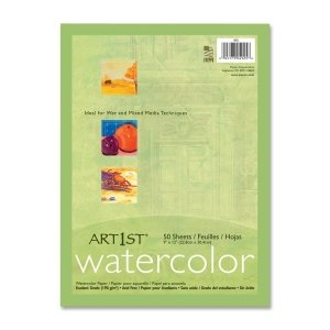 Pacon Corporation 4925 Watercolor Paper, 90lb, 9-Inch x11-Inch, 50SH/PK, White from PACON