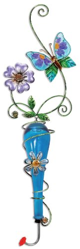 Sunset Vista Design Studios Colored Glass and Metal Hanging Hummingbird Feeder, Butterfly Butterfly Hummingbird Feeder