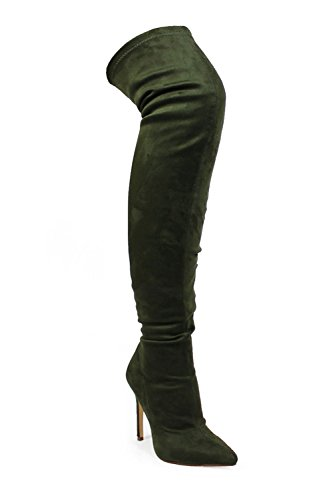 Womens Thigh High Suede Pointy Toe Stiletto Heels Boots GISELE-7 Olive FsaR7